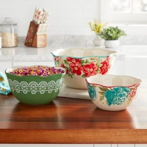 New Pioneer Woman 3pc Serving Bowl Set